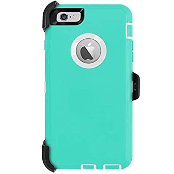 iPhone 6 Plus Case,iPhone 6S Plus Case [Heavy Duty] AICase Built-in Screen Protector Tough 4 in 1 Rugged Shockproof Cover for Apple iPhone 6 Plus / 6S Plus  White/Light Blue with Belt Clip