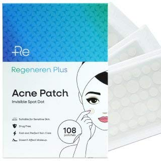 Regeneren Plus Acne Patch, Invisible, Waterproof, Breathable, Concealer and Hydrocolloid Pimple Patches for Face, Drug Free, Fast and Perfect Skin Care 108pcs