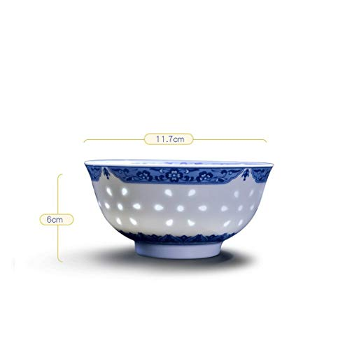 Home Snack Dip Bowls Servies Keramiek kom, creatief Chinees servies blauw en wit porselein exquise eet soep granen set, blauw en wit, 6 pakjes Kitchen Restaurant Gifts (Style: C * 6)
