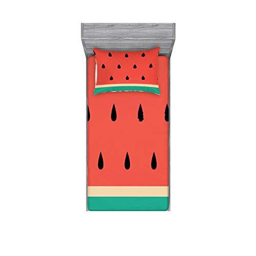 Ambesonne Juego de sábanas y fundas de almohada, estilo minimalista, sandía fresca, verano hipster delicioso, gráfico decorativo, estampado de 2 piezas, Twinxl, verde jade