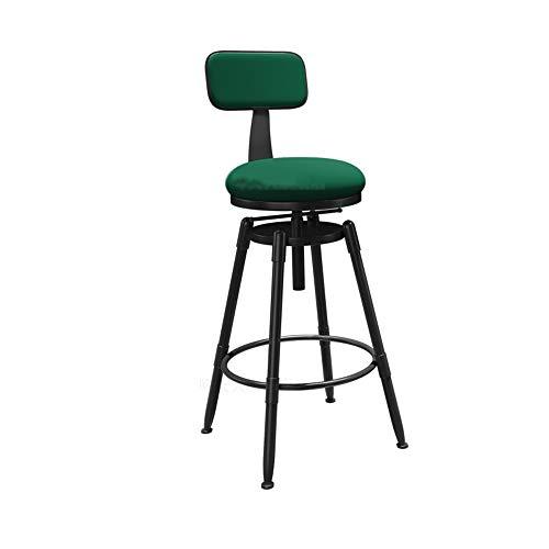 Tabouret de bar Chaise de bar en bois massif Fer Forgé Dossier Rotating Tabouret de levage haut Tabouret de bar Chaise/Assis Hauteur 73cm (Color : Green)