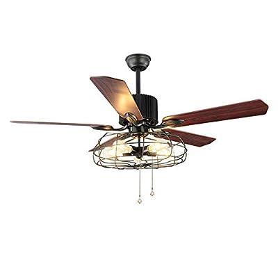 Retro Ceiling Fan Light Draw Rope Control Industrial Ceiling Fan Chandelier 5 Lights 5 Wooden Blade Super Silent Indoor Fan Light (52 inch)