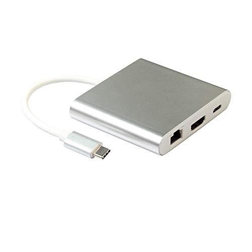 WEQQ TYPE-C Four-in-one Multi-function Extender RJ45 Port + USB Converter white
