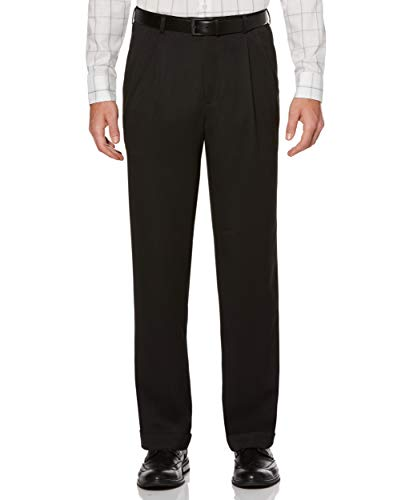 Perry Ellis Men's Classic Fit Elastic Waist Double Pleated Cuffed Pant, Caviar, 34x30