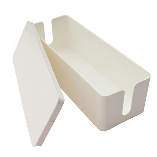 Kabelbox, Colorful Kabelmanagement-Box/Kabel Verstecken und Kabelaufbewahrung/Kabel Organizer zum Verstauen von Steckdosenleisten (Weiß)