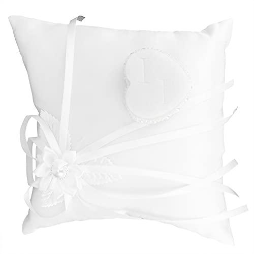 Almohada, flor en forma de corazón, exquisito y elegante color, almohada cuadrada con una almohada para banquetes anuales, bodas