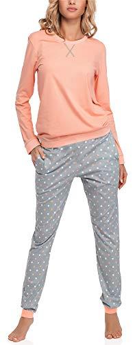 Merry Style Damen Schlafanzug MS10-168 (Lachs Grau, XL)