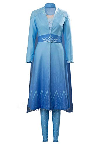 MIGHTYCOS Adult Elsa 2 Costume Dress Halloween Cosplay New Plus Size Princess Blue Fancy Dresses Outfit