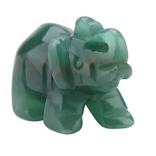 Figura decorativa de elefante tallada de piedra natural (1,5 pulgadas)