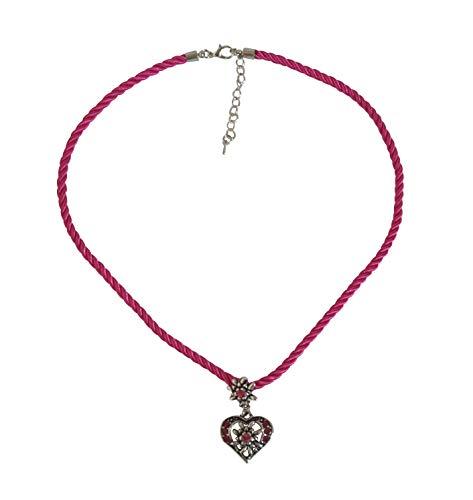 Sonnenscheinschuhe® Kette Edelweiss Herz Kordel Pink Trachtenkette Halskette Anhänger Oktoberfest Dirndl Schmuck