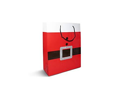 Confezione da 12 splendide buste regalo natalizie con cintura di Babbo Natale rossa, con etichette adesive