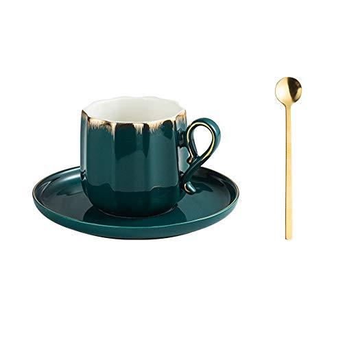 SXXYTCWL Copa de café Cerámica Oro Edge Diamante En forma de taza de café con cuchara Hogar por la tarde Taza de té Taza de agua Cacao de cacao caliente Taza de café Máquina de café Accesorios (blanco
