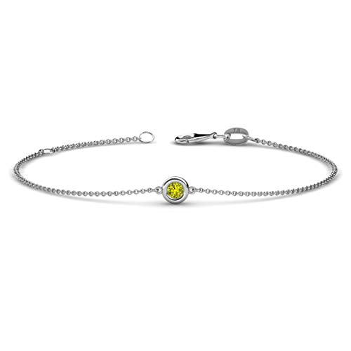 TriJewels 3mm Round Yellow Diamond 1/10 ct Womens Solitaire Station Minimalist Bracelet 14K White Gold (0.1 Ct Diamond Bezel)