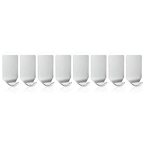 NewbieBoom Confezione da 8 ganci autoadesivi per Porta asciugamani, robusti ganci Acciaio inossidabile 304 con adesivo 3M sul Muro/Porta Della cucina