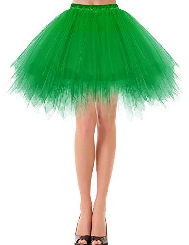Bbonlinedress Faldas con Vuelo Tul Mujer Enaguas Cortas Mini Ballet Danza Fiesta Green L
