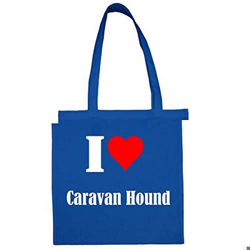 Tasche I Love Caravan Hound Größe 38x42 Farbe Grau Druck Schwarz