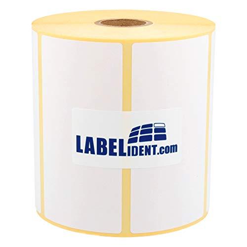 Labelident Thermotransfer-Etiketten auf Rolle weiß - 100 x 50 mm - 1000 Haftetiketten auf 1 Rolle(n), 1,57 Zoll Kern für Standard- und Industriedrucker, Rollenetiketten Papier, permanent