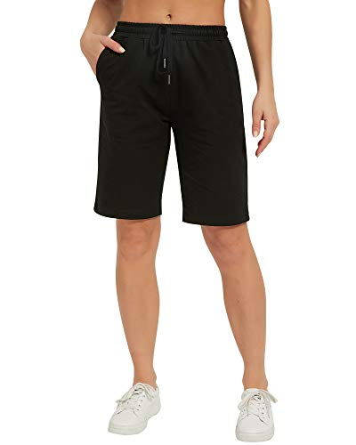 Stelle Women's 10'/ 7' Lounge Bermuda Shorts Athletic Casual Jersey Cotton Sweat Shorts with Pockets (Black,M)