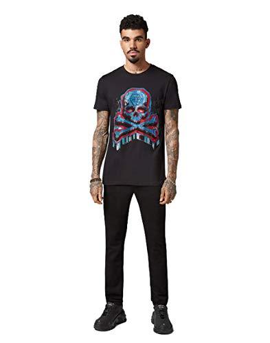 Philipp Plein - Camiseta - Redondo - Manga Corta - para hombre Negro Negro ( Small