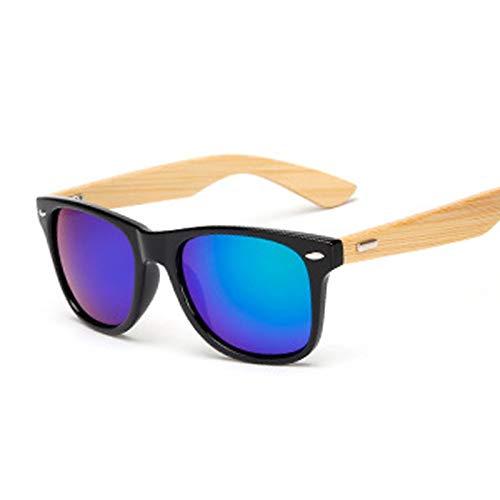 NJJX Gafas De Sol De Bambú Vintage Para Hombre Y Mujer, Gafas De Sol De Madera, Moda Retro Para Hombre, Gafas Cuadradas, Negro, Verde