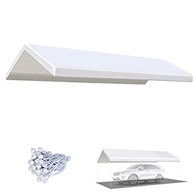 BenefitUSA 10x20 ft Carport Replacement Canopy Garage Top Cover Tent Shelter Tarp with Ball Bungee Cords, Canopy ONLY