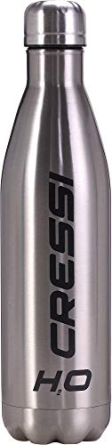 Cressi Water Bottle H20 Double Wall Stainless Steel, Borraccia Sportiva in Acciaio Inox Disponibile in Varie Misure e Colori, Argento, 500 ml