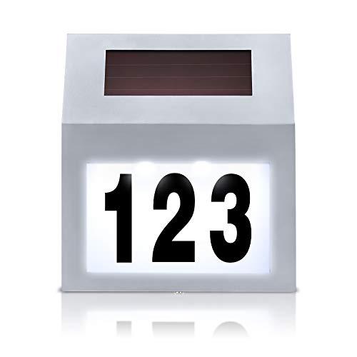 UISEBRT Número de casa LED solar iluminado de acero inoxidable – Número...