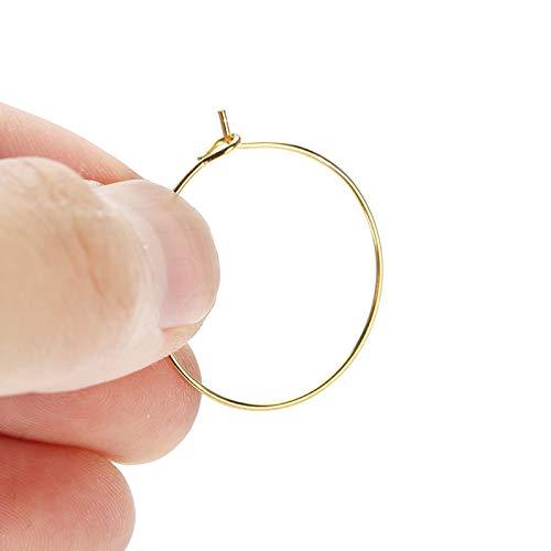 100 piezas de acero hipoalergénico círculo pendiente bucles copa de vino grande redondo fiesta pendiente aro anillo conjunto hallazgos de joyería(Oro 30 * 30 MM)