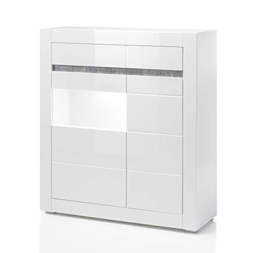 Newfurn Vitrine Vitrinenschrank Modern Holzvitrine II 100x112x 35 cm (BxHxT) II [Finn.Three] in Weiß/Weiß Hochglanz Wohnzimmer Schlafzimmer Esszimmer Flur Diele