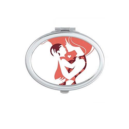 DIYthinker Cupidon Ange Coeur Rouge Motif Ovale Compact Miroir de Maquillage Portable Mignon Miroirs de Poche à la Main Cadeau Multicolor