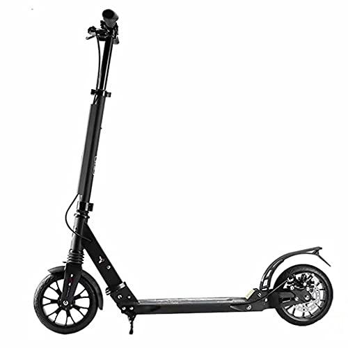 WZWHJ wunderschönen Radroller, City Roller faltbar und höhenverstellbar, bis zu 100 kg, Roller mit Handbremse, Erwachsener und Kinderroller, schwarz