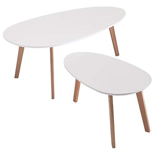 FineBuy Couchtisch Set Weiß Skandinavischer Retro Look Satztisch | Wohnzimmertisch mit Holz-Gestell 2-teilig | 2er Tisch Dreibein Beistelltisch