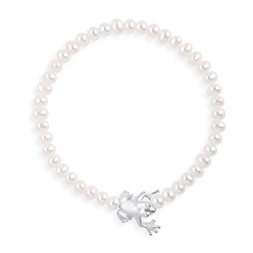 Drachenfels Armband mit Süßwasserperlen und Frosch in Echtsilber | Kollektion Froschkönig | Elegantes Damenarmband | Designer-Schmuck | D FR 81/AG