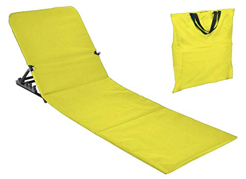 Spetebo Strandmatte faltbar mit Rückenlehne - gelb - Sonnenliege Strand Liege Matte Gartenliege