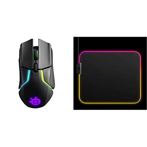 SteelSeries Rival 650 - Quantum Wireless Gaming-Mouse - dualen optischen Sensor - Einstellbarer Lift-Off-Distanz & QcK Prism Cloth - Gaming Mouse Pad – 2 Zonen RGB-Beleuchtung – Mittelgroße