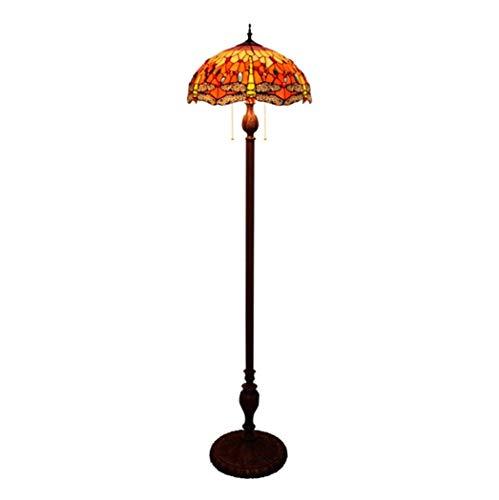 ZHANGDA Lámpara de pie Retro libélula con vitrales para Sala de Estar, lámparas de pie Estilo Tiffany para Dormitorio, Sala de Estudio, iluminación de Arte Antiguo, E27 (40 × 162 cm) (D)