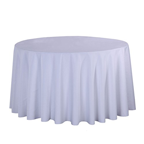LSHEL Nappe Rectangulaire Antitache Polyester Couleur Pure Nappe Ronde Décoration De Table/Fête, Blanc, Rectangle 140 * 140cm