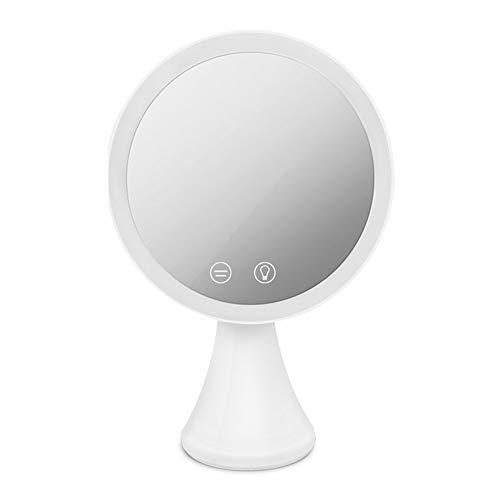 Hetangyuese Leuchtender Make-up-Spiegel, 3 Farbmodi und 7-stufige verstellbare Helligkeit, 120 Grad drehbar, USB-Ladekabel, geeignet für Kosmetika