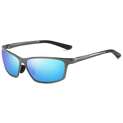 LCSD Gafas de sol Ciclismo Deportes Aluminio Magnesio Y Metal Material Nuevo Visión Nocturna Gafas Gafas Gafas de sol Negro/Azul Lente Pistola Marco Hombre Gafas de conducción (Color: Azul)