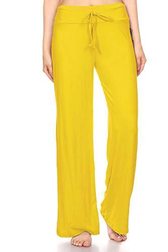 Leggings Depot PJ10SOLID-YELLOW-M Lounge Solid Pants, Medium