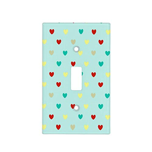 1 Gang Wall Plate Cover Decorator Wall Switch Light Plate Tiny Polka Hearts On Seafoam Green Classic Beadboard Unbreakable Faceplate