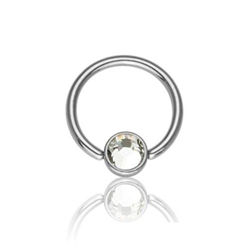 eeddoo Piercing-Ring BCR Klemmring Kristall Silber Titan Durchmesser: 8 mm Kristallklar 3 mm