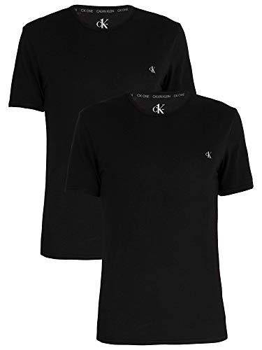 Calvin Klein S/S Crew Neck 2Pk Camiseta de Manga Corta, Negro (Black), L (Pack de 2) para Hombre