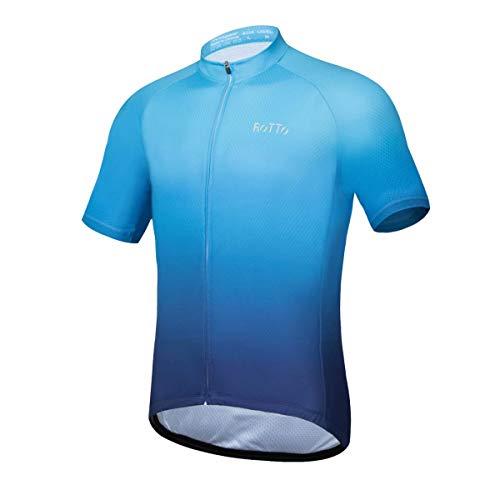 ROTTO Radtrikot Herren MTB Rennrad Trikot Kurzarm Fahrradbekleidung (B Blau-Dunkelblau, L)