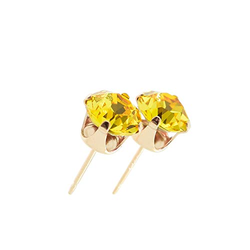 pewterhooter Women's 925 Sterling silver 14k Rose Gold plated earrings made with Light Topaz yellow crystal from Swarovski. Gift box.