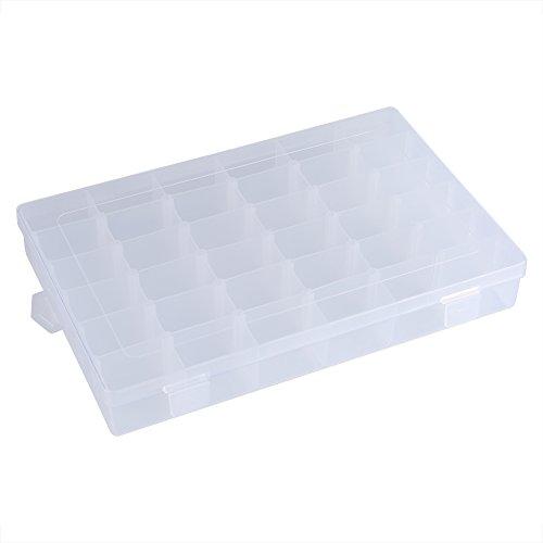 Cafopgrill Transparante kunststof organizer container, 36 vakjes, verstelbare verdelers, afneembare opbergdoos voor het sorteren van oorbellen, ringen, parels, sieraden