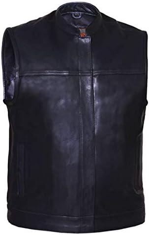 UNIK International Cowhide Men Leather Vest,Black,4XL