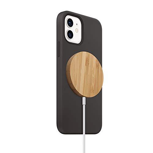 Cargador De Base RáPido InaláMbrico MagnéTico De 15W De Bambú Para Iphone 12 Mini 12Pro / Max Huawei Mate P20 / P30 / Samsung Galaxy S10 / 10E / S9 / S9 Plus/Xiaomi (A)