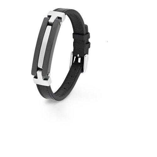 S. Oliver Herren-Armband Edelstahl Leder 21.5 cm - 403689