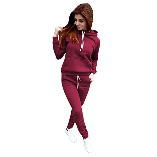 Barkoiesy Chándal de 2 piezas para mujer, chándal de entrenamiento con capucha, camiseta de manga larga + pantalón largo con bolsillos, chándal para correr, yoga, gimnasio Vino D XL